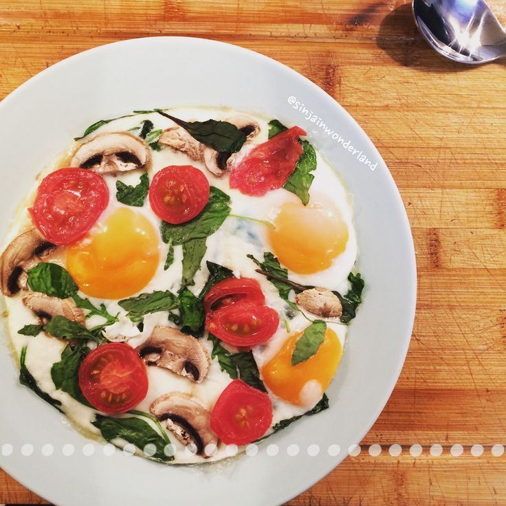 3 eggs + fresh mangold + spinach leaves + mushrooms + tomatoes