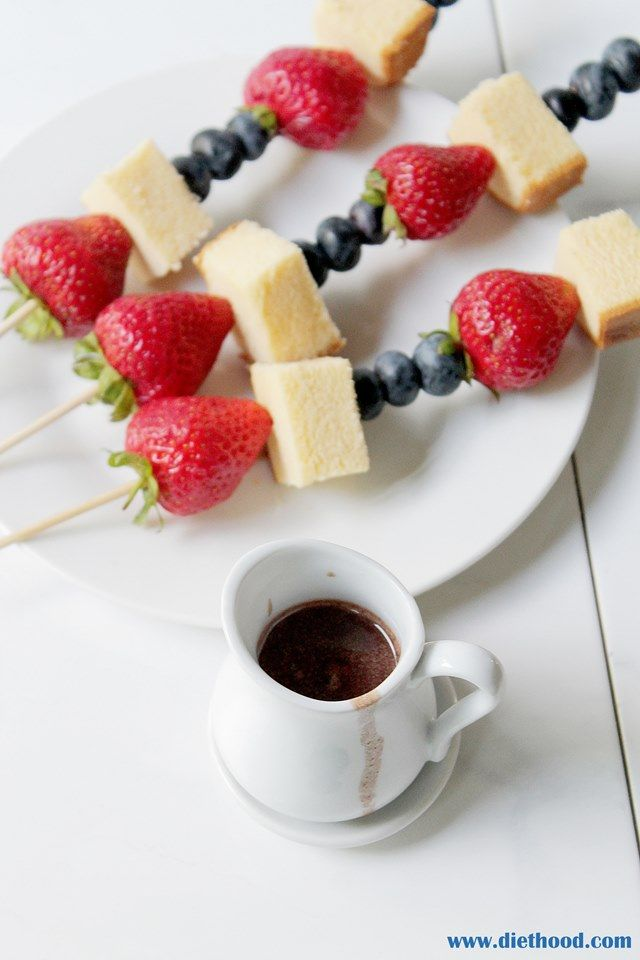 Boozy Chocolate Dipping Sauce with Fruit Skewers