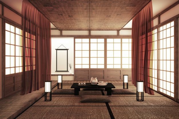 Interior Design Modern Living Room With Table Tatami Floor Japanese Style 3d Rendering Living Room Japanese Style Japan Interior Interior Design