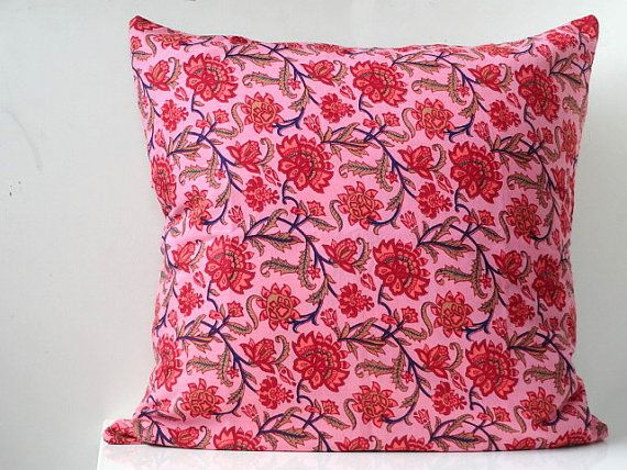 Pillow cover in  Floral Print  Pink cushion cover 16 x16 throw pillow