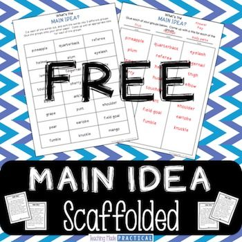 Free! Main idea is a difficult concept for students to grasp. Before having students identify the main idea within text, have students determine the main idea of a group of words. Then, have students determine what supporting detail does not support the main idea of a paragraph.