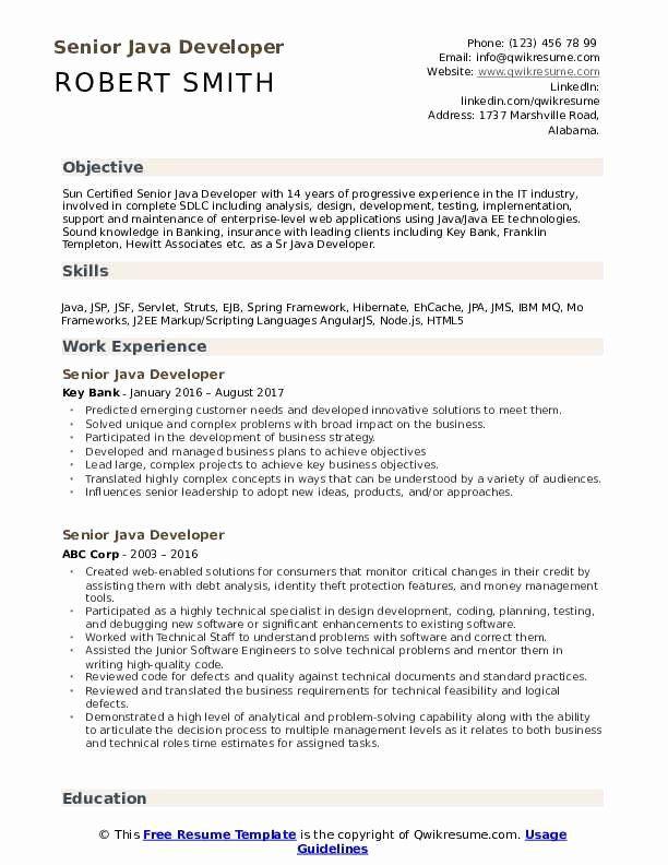 Java Developer Sample Resume Fresh Senior Java Developer Resume Samples Job Resume Samples Accounts Payable Resume Examples