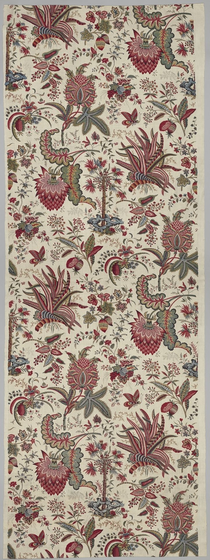 Fleurs Tropicales et Palmiers (Tropical Flowers and Palm Trees) Manufactory: Oberkampf Manufactory  (French, active 1760–1843) Date: 1787 Culture: French, Jouy-en-Josas Medium: Cotton, block printed Dimensions: Overall: 108 x 35 1/2 in. (274.3 x 90.2 cm) Classification: Textiles-Printed Credit Line: Rogers Fund, 1937 Accession Number: 37.170