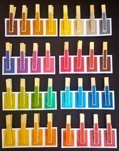 Jeu de tri des nuances avec des pinces à linge. Imprimables gratuits by LA PETITE RUSE lapetiteruse.fr/blog
