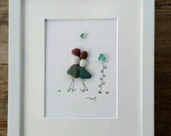Ghiaia gli amici arte ragazze regalo di arte di pebbleartSmiljana