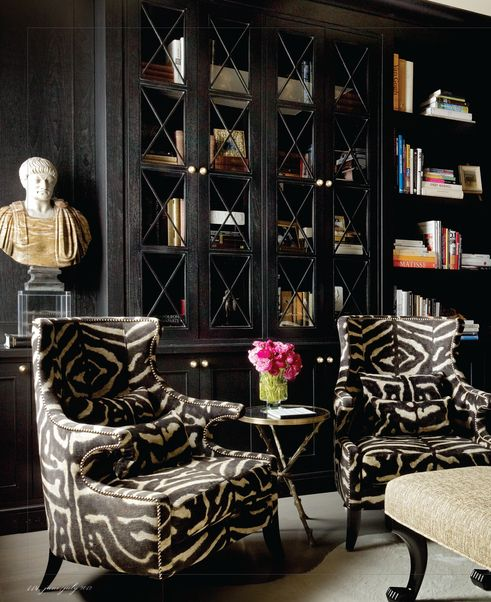 Take Time to Read. Love this dark library. Interior Designer: Candace Cavanaugh