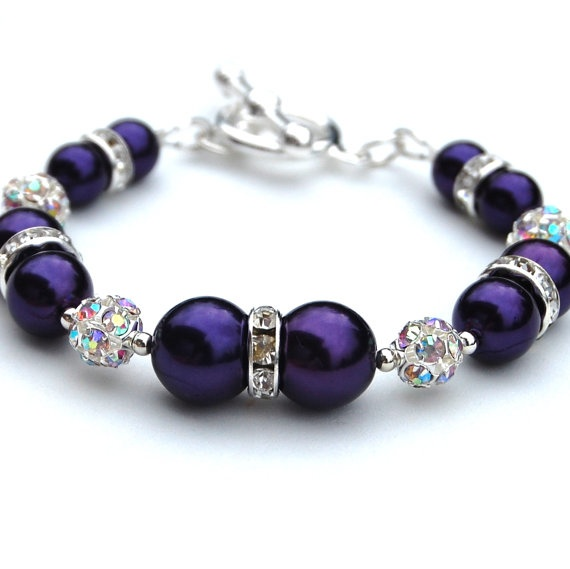 Bridesmaid Jewelry Royal Purple Bling Pearl Bracelet by AMIdesigns, $24.00