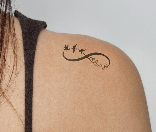 Meaningful 'always' infinity Tattoos on shoulder for girls - three birds, wolds
