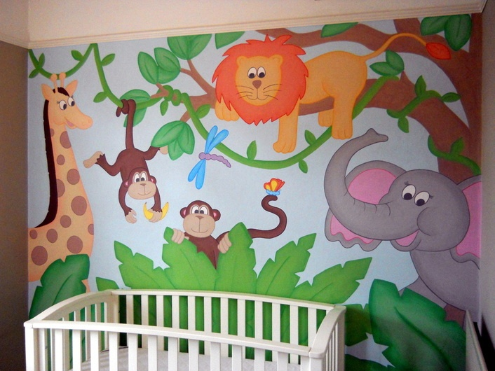 Hand-painted Jungle wall mural for the nursery