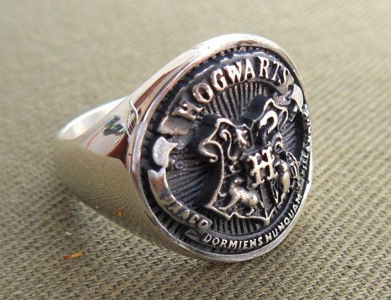 Pesante 3D Harry Potter Hogwarts anello argento 925 di vikigreen