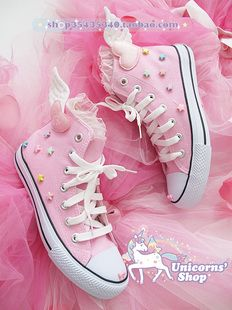 [Soft] Japanese girl ☆ spank nile PERCH spank stars love high shoes canvas shoes