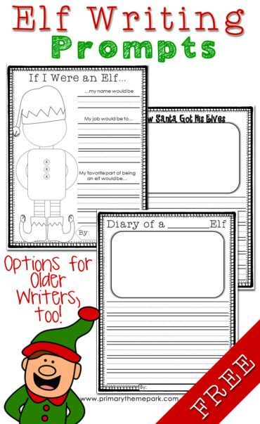 Elf writing prompts with printable writing paper for each prompt. Also includes book suggestions, crafts, and other fun elf-themed ideas kids will love!