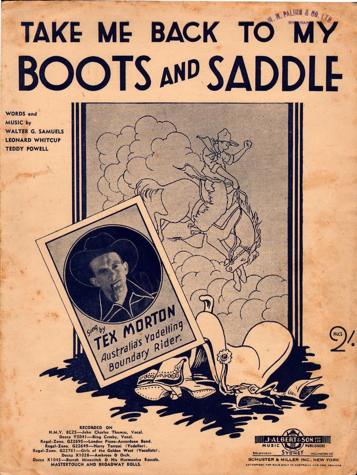 Take me back to my boots and saddle 1935 words amp music by walter g