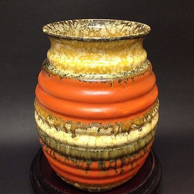 Retro Mid Century - Pottery Ceramic Vase - Orange & Ochre Glaze -Stamped on Base