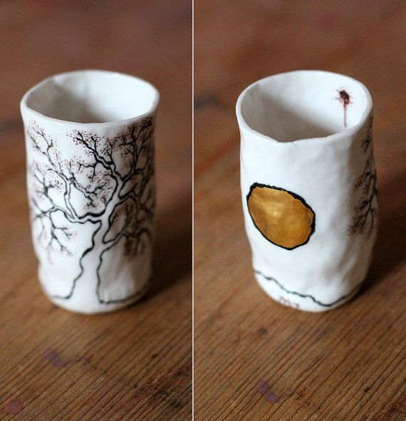 hand painted small porcelain cup with real gold by Artisanknobs