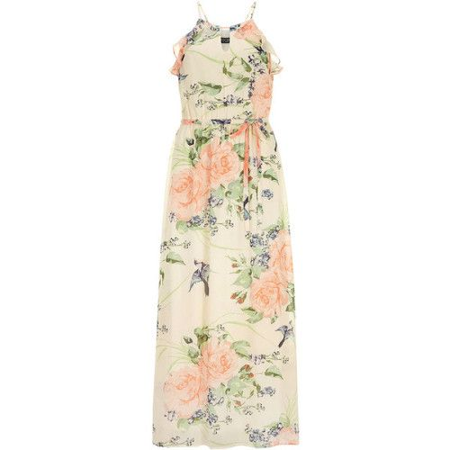 Dorothy Perkins Cream floral maxi dress ❤ liked on Polyvore (see more cream floral dresses)