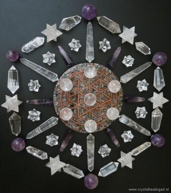 "Crystal Grid...Sacred Geometry - Crystal Quartz & Amethyst Mandala. CQ: ""power stone that harmonizes and balances. It enhances energy and thoughts, and purifies the spiritual, mental, and physical. It is also a powerfully protective stone, bringing the purified energy in. Historically this crystal has been used to counter black magic, to perform diagnostic healing, and to communicate with spirits and other worlds."" A: ""Change stone, opens gateways, brings change, grounding, and balances."""