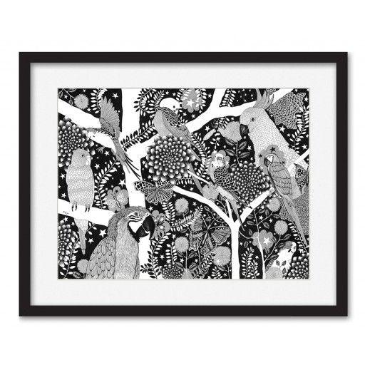 Papegojor - print