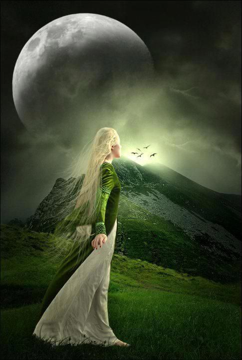 "Aine - Goddess of love, growth, cattle and light. The name of this Celtic Goddess means ""bright"" as she lights up the dark. Celebrations to this Goddess were held on Midsummer night."