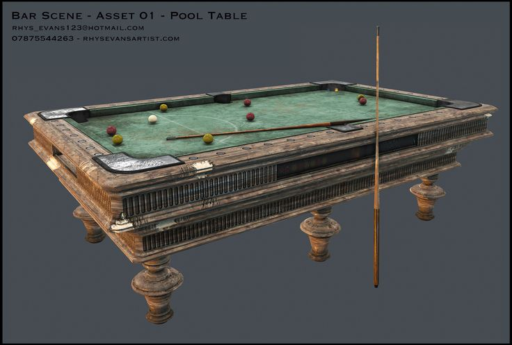 ArtStation - Bar Scene - Pool Table, Rhys Evans