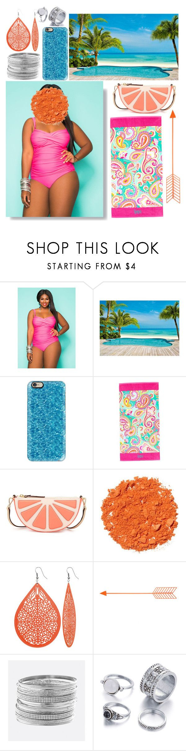 """""""Color Pool Outfit"""" by mersunflower ❤ liked on Polyvore featuring Ashley Stewart, Casetify, Kate Spade, Illamasqua, Avenue, beach, pool, colorful and bathingsuit"""
