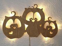 Wandlampe 3 Eulchen aus Holz mit LED ho03