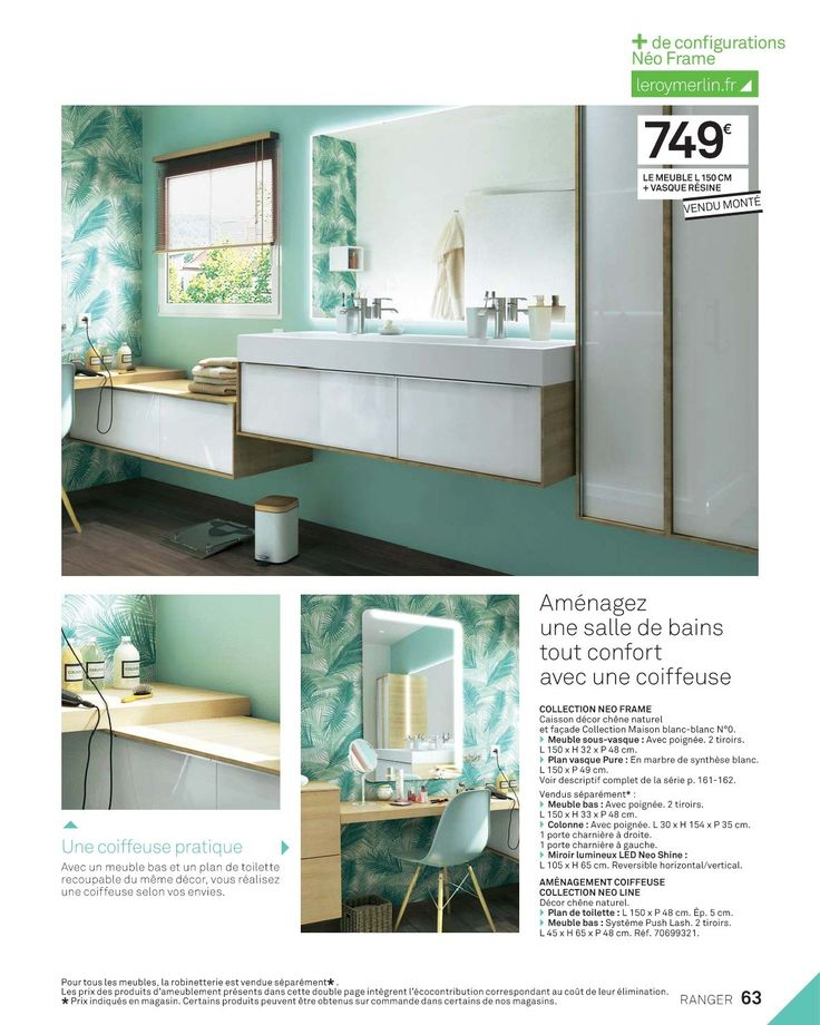 101 best salle de bain images on Pinterest Bathroom, Bathroom - leroy merlin meuble salle de bain neo