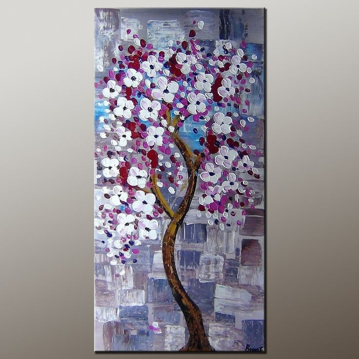 Flower Art, Acrylic Painting, Heavy Texture Painting, Abstract Art  Painting, Canvas Wall