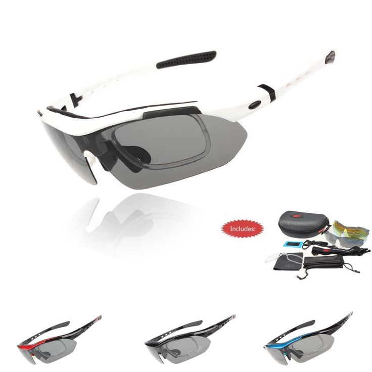 HOTER® Nlite Vogue 5 Lens Cycling Bike Combo Sun Sports Glasses Multi Color Colors To Choose, - Black&RedII
