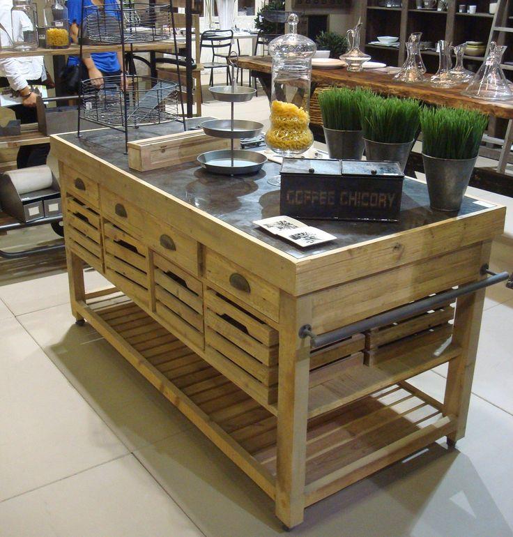 Meuble de cuisine en bois massif ilot central combloux tek i - Roulette meuble vintage ...