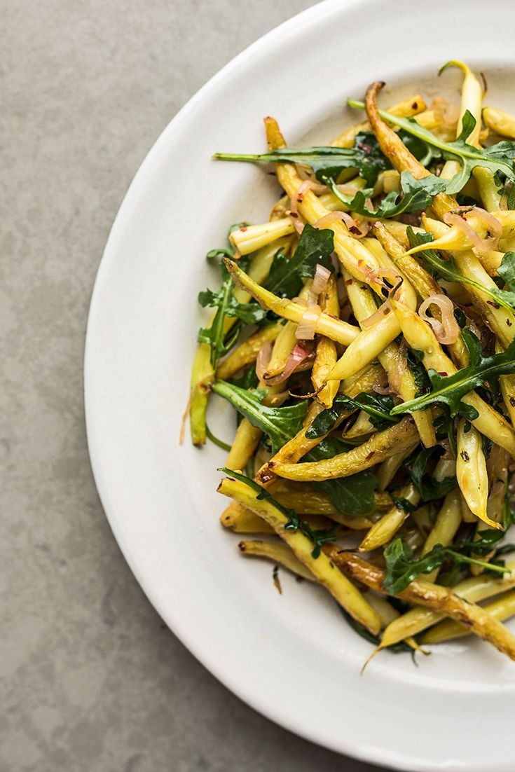Seared Yellow Wax Beans and Arugula - Ditch the salad and start sautéing arugula for a great vegetable side.