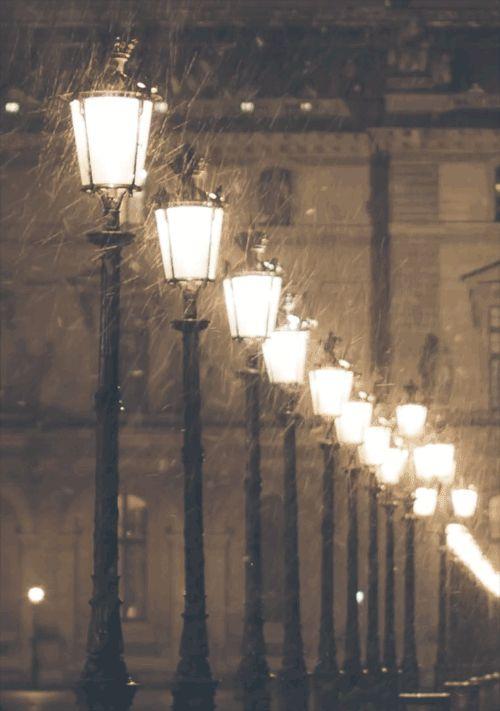 Paris lights in the snow