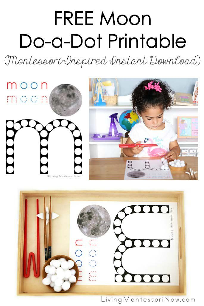 This free moon do-a-dot printable is a Montessori-inspired printable for home or classroom; versatile instant download for phonics and unit studies - Living Montessori Now #Montessori #homeschool #moon #moontheme #freeprintable