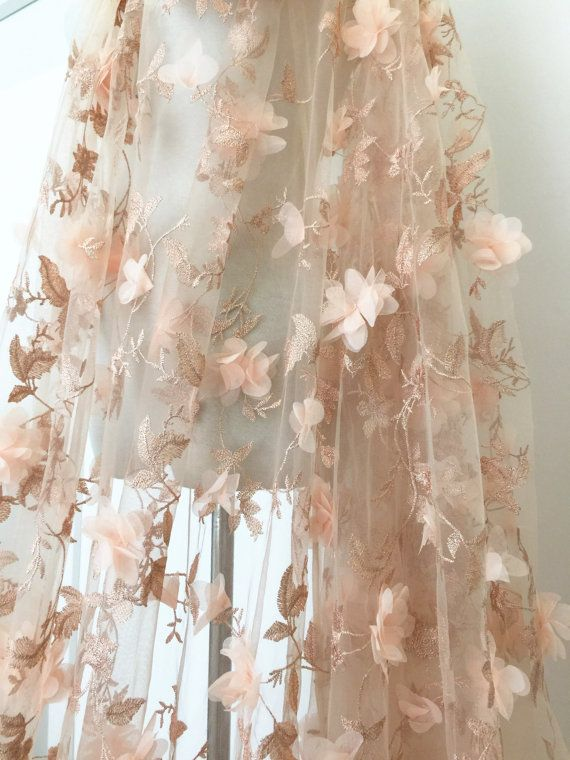 3D Blossom Lace Fabric in Peach , Tulle Embroidered Bridal Lace Fabric , Metallic Thread Couture Wedding Gown Fabric
