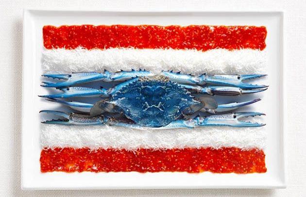 Thaïlande (sauce, noix de coco, crabe bleu) - agence de publicité WHYBIN\TBWA - concocté par Garry Horner et photographié par Natalie Boog - aliments associés traditionnellement à une nation