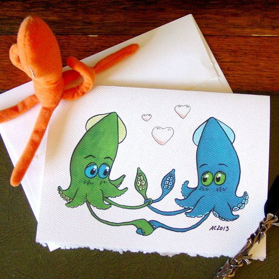 Wedding Squid Card - Tying the Knot - Congratulations on Marriage
