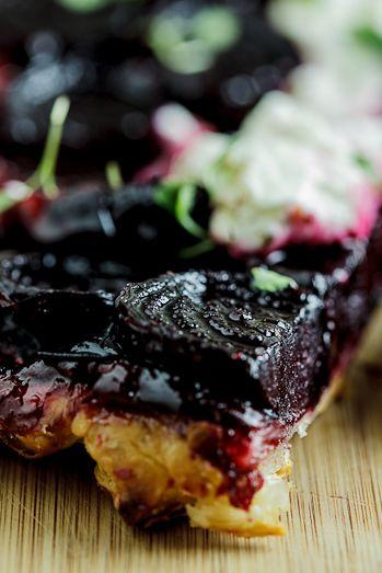 Beetroot Tarte Tatin with Goat's cheese cream. #vegetarian #recipe
