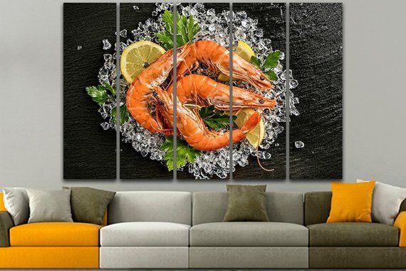 Shrimp Canvas Seafood Wall Art Lemon Print Food Wall Art Sea Etsy Seafood Wall Art Food Wall Art Sea Life Art