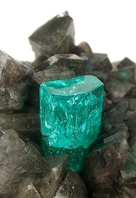 Beryl var. Emerald on Calcite from Coscuez Mine, near Muzo, Boyaca Dept., Colombia