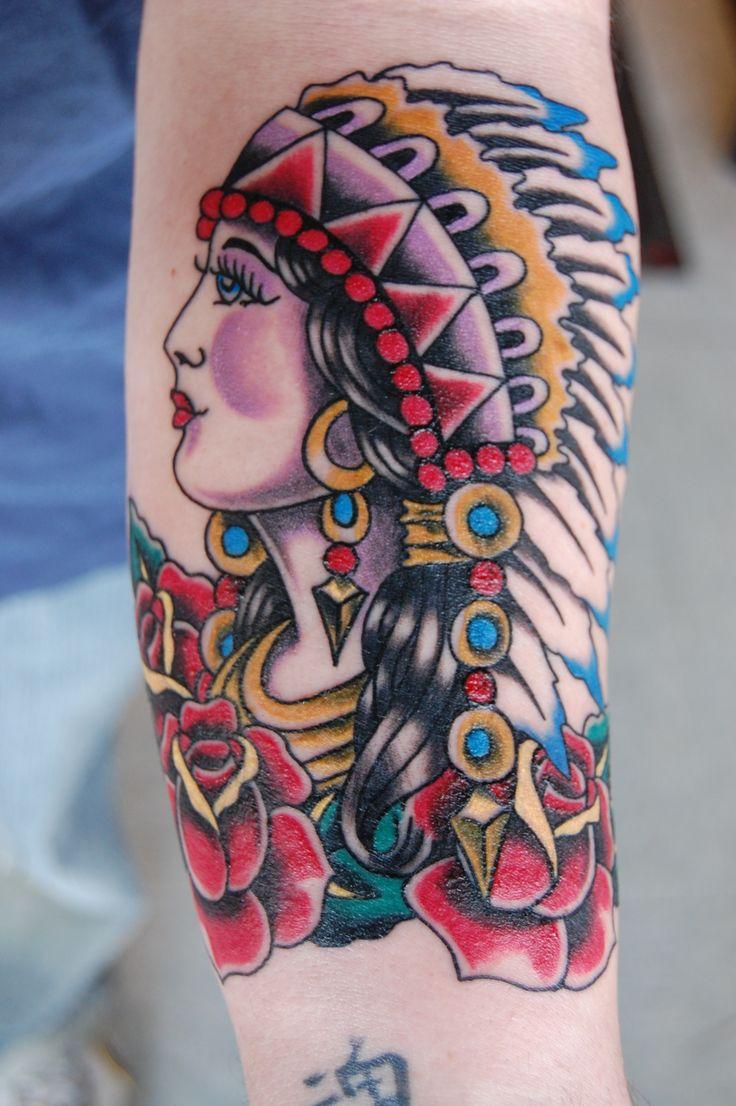 Tattoo old school tatuaggi old school pin up significato e foto quotes - Old School Indian Maiden Ram Lee Tattoo Art