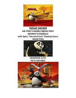 Kung Fu Panda Dinner Menu