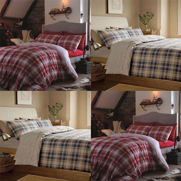 catherine lansfield home tartan 100 brushed cotton flannelette duvet cover set