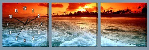 """36"""" x 12"""" - Sunset View Wall Clock on Stretched and Grouped Canvas Print Fuzhou Bes Home Decor Co., LTD  http://www.amazon.com/dp/B00J0BZDS4/ref=cm_sw_r_pi_dp_sO4Qtb1JNGG7AYD7"""