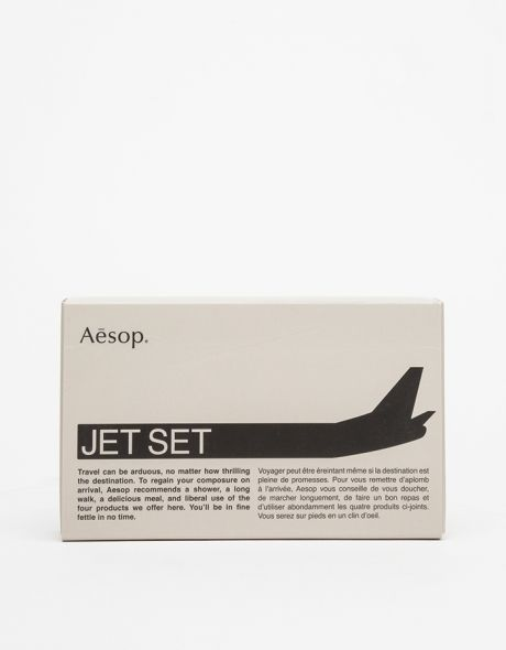 Jet Set Kit, set of aesop's shampoo, conditioner, cleanser, and balm, a little something that will make you feel special when you arrive at destination.