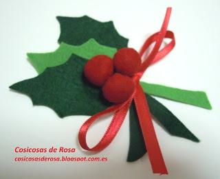 Las Cosicosas de Rosa: Acebo para la Navidad y cosicosas que se van de viaje. #cosicosas #fieltro #broche