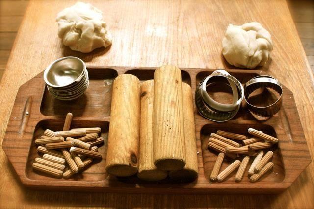 Natural playdough with natural items