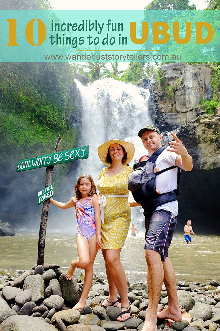 10 Incredibly fun things to see and do in Ubud with kids.Check out a stunning waterfall, enjoy bargaining at the markets, visit the glorious Lotus Temple, enjoy a peaceful walk through the rice paddies and more!  Visit our blog wanderluststorytellers.com.au for all the info! - Bali, Indonesia