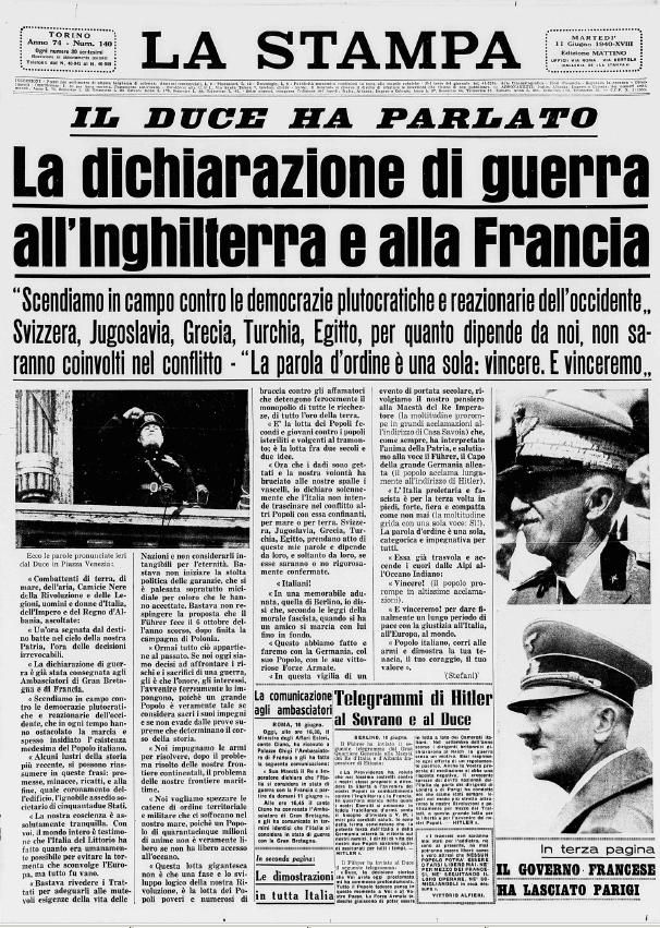 Il 10 giugno del 1940 l'Italia dichiara guerra all'Inghilterra e alla Francia; inizia la Seconda Guerra Mondiale.