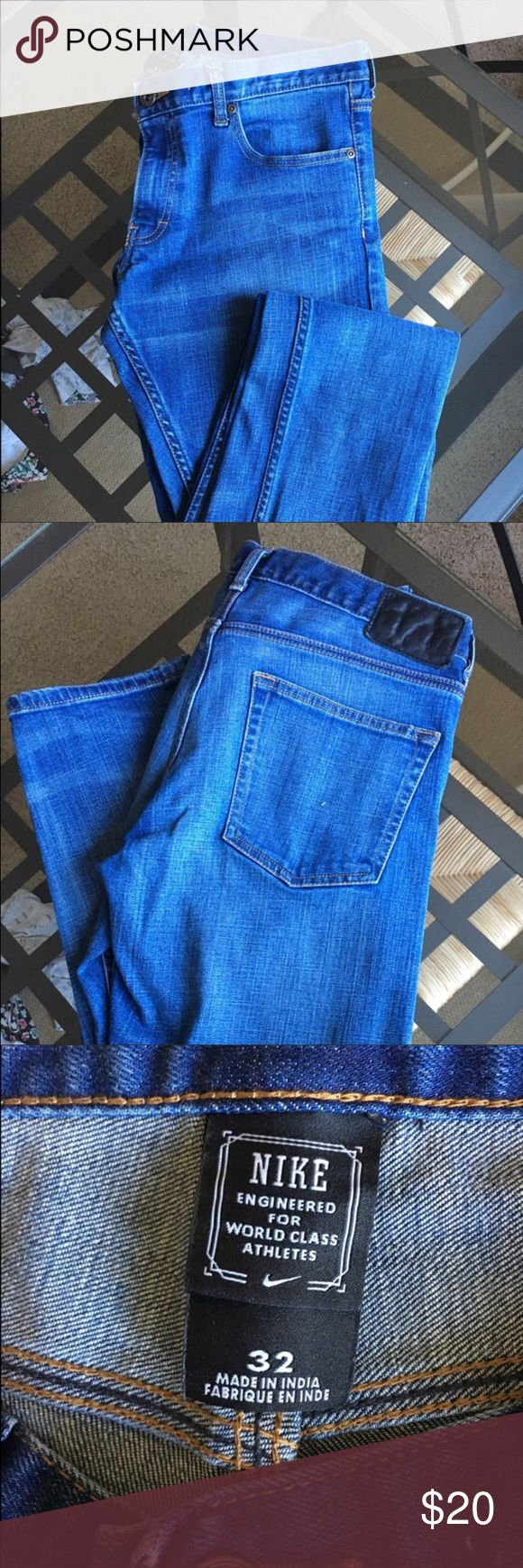 "Men's Nike slim fit Jean. Like new!! Excellent condition. 31"" inseam, approx 7"" leg opening. Perfect true blue wash. Nike Jeans Slim"