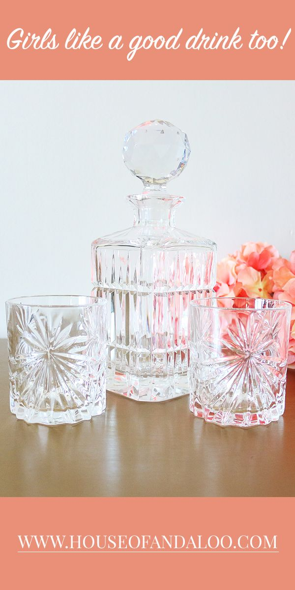 Who says girls don't drink whiskey? Bring some character to your home bar by mixing the old with the new with this beautiful vintage crystal decanter with two new crystal glasses. It's a very elegant decanter set which will add a touch of class to your home entertaining.